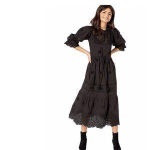 Free People Lavender Midi Dress Black. S